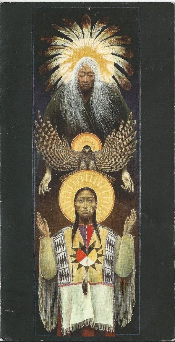 An Icon by Robert Lentz. It depicts a golden dark falcon as the Holy Spirit.